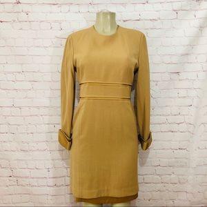 Louis Feraud long sleeve gold dress